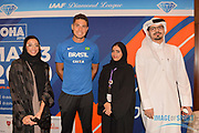 Thiago Braz da Silva (BRA), second from left, poses with journalists during a news conference at the Intercontinental Doha Hotel-The City, Thursday, May 2, 2019, in Doha, Qatar prior to the 2019 IAAF Diamond League Doha meeting. (Jiro Mochizuki/Image of Sport)