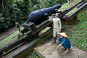 Fort Siloso. Recreation of British Army life in WW2. Bringing an artillery peace into its battle position.