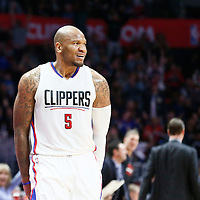 12 December 2016: LA Clippers center Marreese Speights (5) celebrates during the LA Clippers 121-120 victory over the Portland Trail Blazers, at the Staples Center, Los Angeles, California, USA.