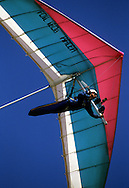 SAN DIEGO, CA - UNDATED : A hang glider soars over the Pacific Ocean near San Diego, California.  (Photo by Ron Vesely)