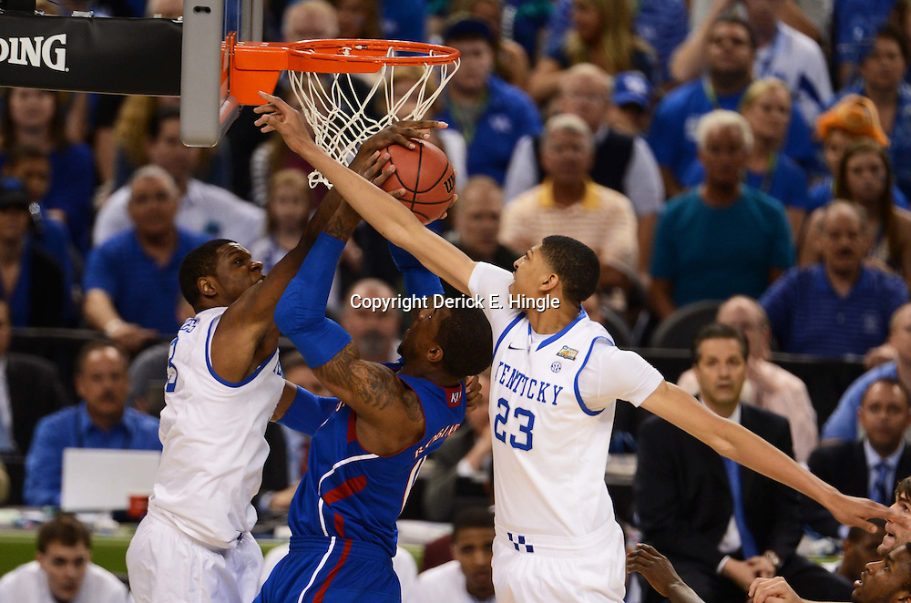 Apr 2, 2012; New Orleans, LA, USA; Kansas Jayhawks forward Thomas Robinson (center) goes up for a shot as Kentucky Wildcats forward Anthony Davis (23) and forward Terrence Jones (left) defend during the first half in the finals of the 2012 NCAA men's basketball Final Four at the Mercedes-Benz Superdome. Mandatory Credit: Derick E. Hingle-US PRESSWIRE