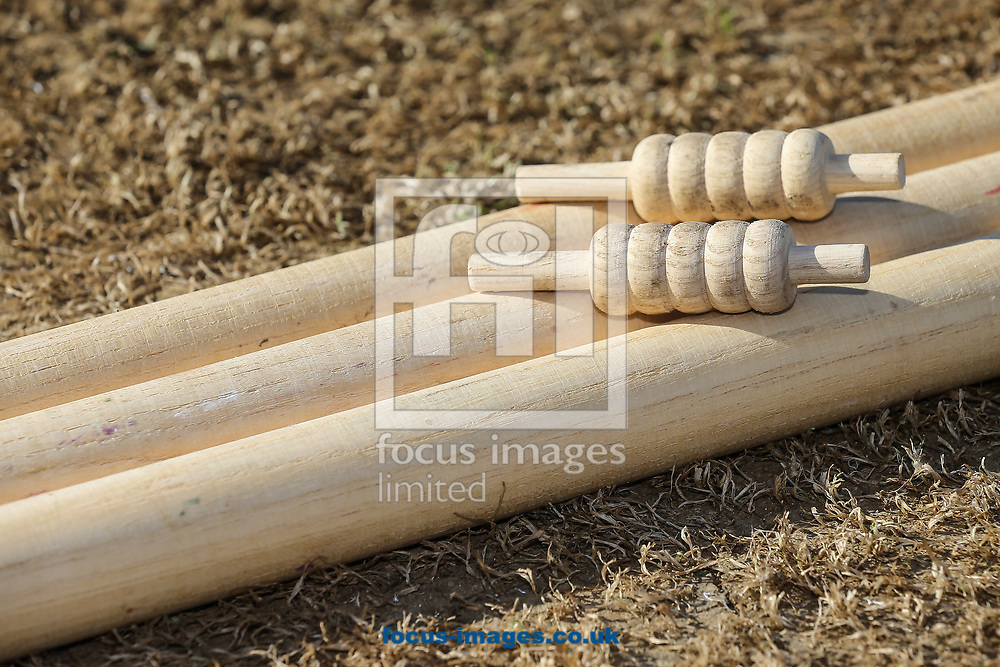 Stumps and bails before day two of the Friendly match at the County Ground, Northampton<br /> Picture by Andy Kearns/Focus Images Ltd 0781 864 4264<br /> 03/04/2017