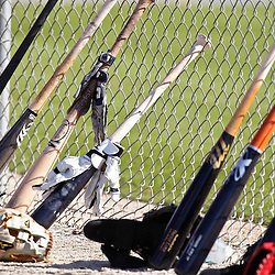 February 19, 2011; Fort Myers, FL, USA; A detailed view of bats and gloves set along a fence during Boston Red Sox spring training practice at the Player Development Complex.  Mandatory Credit: Derick E. Hingle