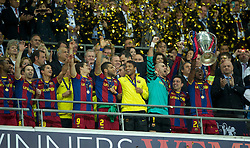 28.05.2011, Wembley Stadium, London, ENG, UEFA CHAMPIONSLEAGUE FINALE 2011, FC Barcelona (ESP) vs Manchester United (ENG), im Bild FC Barcelona's Eric Abidal lifts the European Cup trophy after completely outclassing Manchester United 3-1 during the UEFA Champions League Final at Wembley Stadium, EXPA Pictures © 2011, PhotoCredit: EXPA/ Propaganda/ Chris Brunskill *** ATTENTION *** UK OUT!