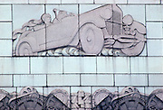 CHICAGO, ARCHITECTURE art deco relief of 1930's automobile