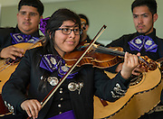 Members of the Davis High School Mariachi Pantera perform before the Houston ISD Board of Trustees meeting, April 9, 2015.