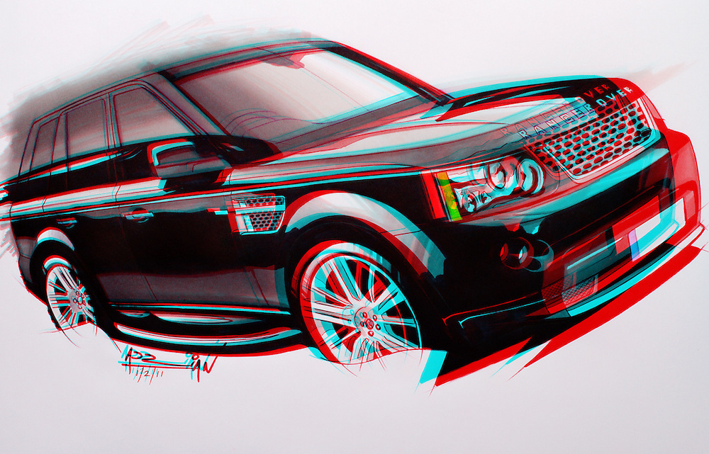 Marker drawing of a Range Rover Sport by Adrian Dewey. Finished in photoshop with a 3D effect. Letraset markers on paper.
