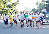 24/11/2013 repro free  Volunteers for  Self Help Africa celebrate after completing  the Great Ethiopian run in Hawassa as opposed to the Capital Addis Ababa due to a security threat, part of a group of 20 from Ireland who ran the race in aid of Self Help Africa. Photo:Andrew Downes