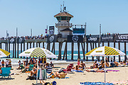 Summer Beach Crowd at Huntington Beach Pier