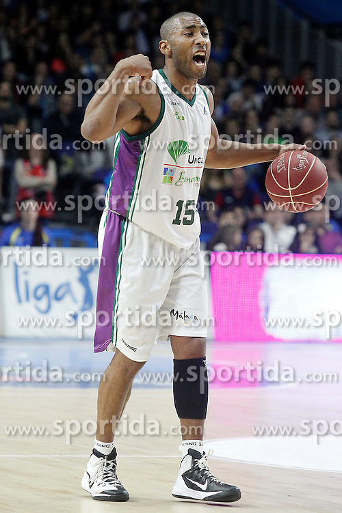 12.04.2015, Palacio de los Deportes, Madrid, ESP, Liga ACB, Real Madrid vs FC Barcelona, im Bild Unicaja's Jayson Granger // during Liga Endesa ACB match between Real Madrid and FC Barcelona at the Palacio de los Deportes in Madrid, Spain on 2015/04/12. EXPA Pictures &copy; 2015, PhotoCredit: EXPA/ Alterphotos/ Acero<br /> <br /> *****ATTENTION - OUT of ESP, SUI*****