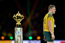 David Pocock of Australia passes by the Webb Ellis Cup - Mandatory byline: Patrick Khachfe/JMP - 07966 386802 - 31/10/2015 - RUGBY UNION - Twickenham Stadium - London, England - New Zealand v Australia - Rugby World Cup 2015 Final.