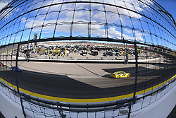 March 4, 2018 - Las Vegas, NV, U.S. - LAS VEGAS, NV - MARCH 04: Joey Logano (22) Team Penske Pennzoil Ford Fusion leads the field into turn 2 during the Monster Energy NASCAR Cup Series Pennzoil 400 on March 04, 2018 at Las Vegas Motor Speedway in Las Vegas, NV. (Photo by Chris Williams/Icon Sportswire) (Credit Image: © Chris Williams/Icon SMI via ZUMA Press)