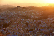 A view of Jodhpur city from the Mehrangarh Fort at sunset.