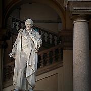 Brera Academy in Milan, Statua di Luigi Cagnola..Luigi Cagnola statue in courtyard of Brera art academy