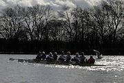 Putney. GREAT BRITAIN,  GER M8+ paddles back  to Putney after the pre boat race fixture between  Cambridge University  vs German National Eight race, raced over the Boat Race Course, on the River Thames, London, on Sat.  03.03.2007,  [Photo Peter Spurrier/Intersport Images] .GER M8+.Bow, Joerg DIESSNER, Stephan KOLTZK, Jan-Martin BROER, Matthias FLACH. Ulf SIENES, Jan  TREBRUEGGE, Phillip STUER, stroke, Bernd  HEIDICKER, cox. Peter  THIEBET.  [Mandatory Credit, Peter Spurier/ Intersport Images]. , Rowing Course: River Thames, Championship course, Putney to Mortlake 4.25 Miles, , Varsity Boat Race.