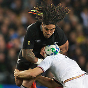 Ma'a Nonu, New Zealand,  in action during the New Zealand V France Final at the IRB Rugby World Cup tournament, Eden Park, Auckland, New Zealand. 23rd October 2011. Photo Tim Clayton...
