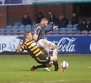Alloa Athletic's Michael Doyle downs Dundee's Peter MacDonald to concede a penalty - Dundee v Alloa Athletic, SPFL Championship at Dens Park<br /> <br />  - &copy; David Young - www.davidyoungphoto.co.uk - email: davidyoungphoto@gmail.com