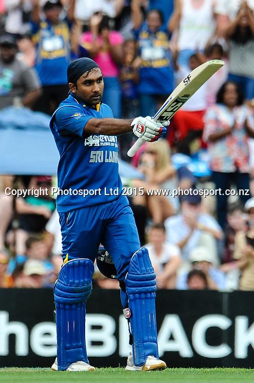 Mahela Jayawardene of Sri Lanka celebrates his hundred in the first ODI, Black Caps v Sri Lanka, at Hagley Oval, Christchurch, 11 January 2015. Photo:John Davidson/www.photosport.co.nz