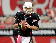 Oct. 14, 2012; Glendale, AZ, USA;  Arizona Cardinals quarterback Kevin Kolb (4) warms up prior to the game against the Buffalo Bills at University of Phoenix Stadium. Mandatory Credit: Jennifer Stewart-US PRESSWIRE..