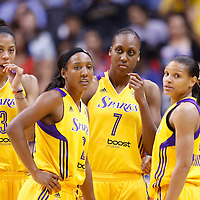 15 August 2014: Los Angeles Sparks forward/center Candace Parker (3), Los Angeles Sparks guard Candice Wiggins (2), Los Angeles Sparks forward/center Sandrine Gruda (7), Los Angeles Sparks guard Lindsey Harding (10), Los Angeles Sparks guard/forward Armintie Herrington (22)  are seen during the Los Angeles Sparks 77-65 victory over the Seattle Storm, at the Staples Center, Los Angeles, California, USA.