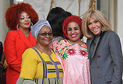 Exclusive - France's first lady Brigitte Macron welcomes Mali's first lady Keïta Aminata Maiga, Niger's first lady Lalla Malika Issoufou, at the Elysee presidential palace in Paris, France, on November 12, 2019. Photo by Christian Liewig/ABACAPRESS.COM