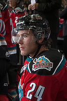 KELOWNA, CANADA - OCTOBER 25: Tyson Baillie #24 of Kelowna Rockets sits on the bench against the Brandon Wheat Kings on October 25, 2014 at Prospera Place in Kelowna, British Columbia, Canada.  (Photo by Marissa Baecker/Getty Images)  *** Local Caption *** Tyson Baillie;