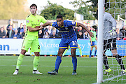 man of the moment Lyle Taylor of AFC Wimbledon in action during the Sky Bet League 2 match between AFC Wimbledon and Hartlepool United at the Cherry Red Records Stadium, Kingston, England on 31 October 2015. Photo by Stuart Butcher.