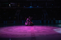 KELOWNA, CANADA - OCTOBER 13:  Rocky Raccoon, the mascot of the Kelowna Rockets stands on the ice at there start of the game against the Tri-City Americans on October 13, 2018 at Prospera Place in Kelowna, British Columbia, Canada.  (Photo by Marissa Baecker/Shoot the Breeze)  *** Local Caption ***