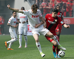 LEVERKUSEN, May 14, 2017  Kai Havertz (R) of Bayer 04 Leverkusen vies for the ball with Dominique Heintz of FC Cologne during the Bundesliga match in Leverkusen, Germany, May 13, 2017. The match ended 2-2. (Credit Image: © Ulrich Hufnagel/Xinhua via ZUMA Wire)