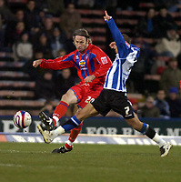 Photo: Matt Bright/Sportsbeat Images.<br /> Crystal Palace v Sheffield Wednesday. Coca Cola Championship. 15/12/2007.<br /> Shaun Derry of Crystal Palace &  Marcus Tudgay of Sheffield Wednesday