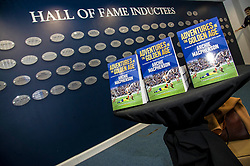 Pictured: <br /> Veteran commentator Archie MacPherson was at Hampden Park today as he announced the publication of his latest book:  Adventures in the Golden Age - Scotland in the World Cup Finals 1974-1998, due to be published on 26 April  MacPherson was joined by former and  current Scotland manager Craig Brown and Alex McLeish respectivly  along with ex-Celtic, Arsenal and Scotland player Charlie Nicholas who was Archie's co-commentator at the Mexico World Cup. <br /> <br /> Ger Harley | EEm 25 April 2018