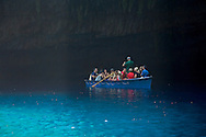 Tourists in a rowboat in the Melissani Cave, Kefalonia, The Ionian Islands, Greece