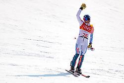 22.02.2018, Yongpyong Alpine Centre, Pyeongchang, KOR, PyeongChang 2018, Ski Alpin, Herren, Slalom, 2. Durchgang, im Bild David Chodounsky (USA) // David Chodounsky of the USA reacts after the men's 2nd run Slalom race of the Pyeongchang 2018 Winter Olympic Games at the Yongpyong Alpine Centre in Pyeongchang, South Korea on 2018/02/22. EXPA Pictures © 2018, PhotoCredit: EXPA/ Johann Groder