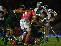 Mike Fitzgerald of Leicester Tigers (R) in action - Mandatory byline: Jack Phillips / JMP - 07966386802 - 13/11/15 - RUGBY - Welford Road, Leicester, Leicestershire - Leicester Tigers v Stade Francais - European Rugby Champions Cup Pool 4