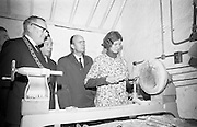 Opening of Kilkenny Design Workshop. Dutch specialist in wood-turning, Maria van Kestern, demonstrates to Dr. P.J. Hillery, Minister for Industry and Commerce and W.H. Walshe, chairman, and Ald. J. McGuinness, Mayor of Kilkenny..15.11.1965