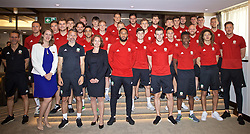 BUDAPEST, HUNGARY - Tuesday, June 11, 2019: Wales players pose for a group photograph with hotel staff before a pre-match walk ahead of the UEFA Euro 2020 Qualifying Group E match between Hungary and Wales. (Pic by David Rawcliffe/Propaganda)