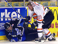 - Council Bluffs, IA. 4/29/2003 River City Lancers Ryan Coakley and Lincoln Stars MICK BERGE get tangled up in the corner at the Mid America Center Tuesday evening (Chris Machian/Prairie Pixel Group)
