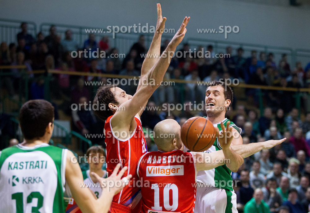 Smiljan Pavic of Krka during basketball match between KK Krka and Radnicki (SRB) in 20th Round of ABA League, on February 3, 2013 in Arena Leon Stukelj, Novo mesto, Slovenia. (Photo By Vid Ponikvar / Sportida.com)