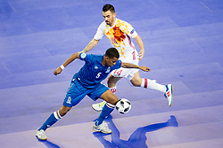 Fineo Araujo of Azerbaijan and Alex of Spain during futsal match between National teams of Ukraine and Portugal at Day 6 of UEFA Futsal EURO 2018, on February 4, 2018 in Arena Stozice, Ljubljana, Slovenia. Photo by Urban Urbanc / Sportida