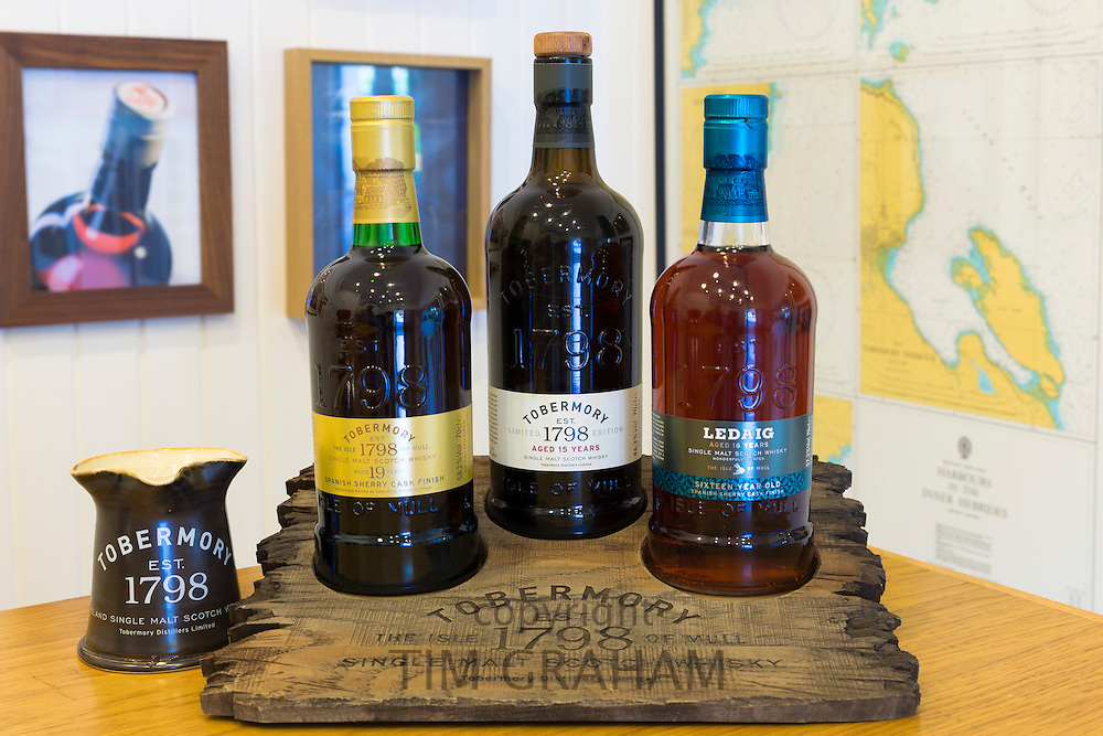 Scotch single malt whisky, Ledaig 16-year-old and Tobermory 15-year-old and 19 year-old matured at Tobermory Distillery on the Isle of Mull in Western Isles of Scotland