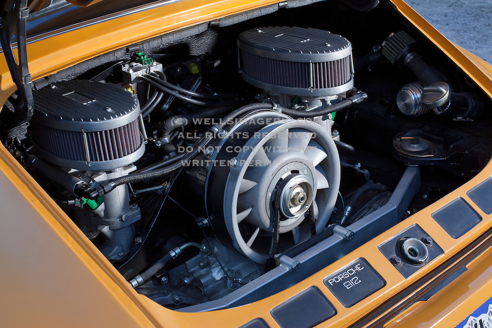 Image of a 1966 Bahama Yellow Porsche 912 Polo motor in Salt Lake City, Utah, American Southwest, property released