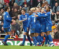 Photo: Ed Godden.<br />West Ham United v Chelsea. The Barclays Premiership.<br />02/01/2006. <br />Chelsea players celebrate with goalscorer Frank Lampard (2nd, R).