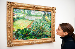 Woman looking at painting Mohnfeld by Vincent van Gogh at the Kunsthalle art gallery in Hamburg German