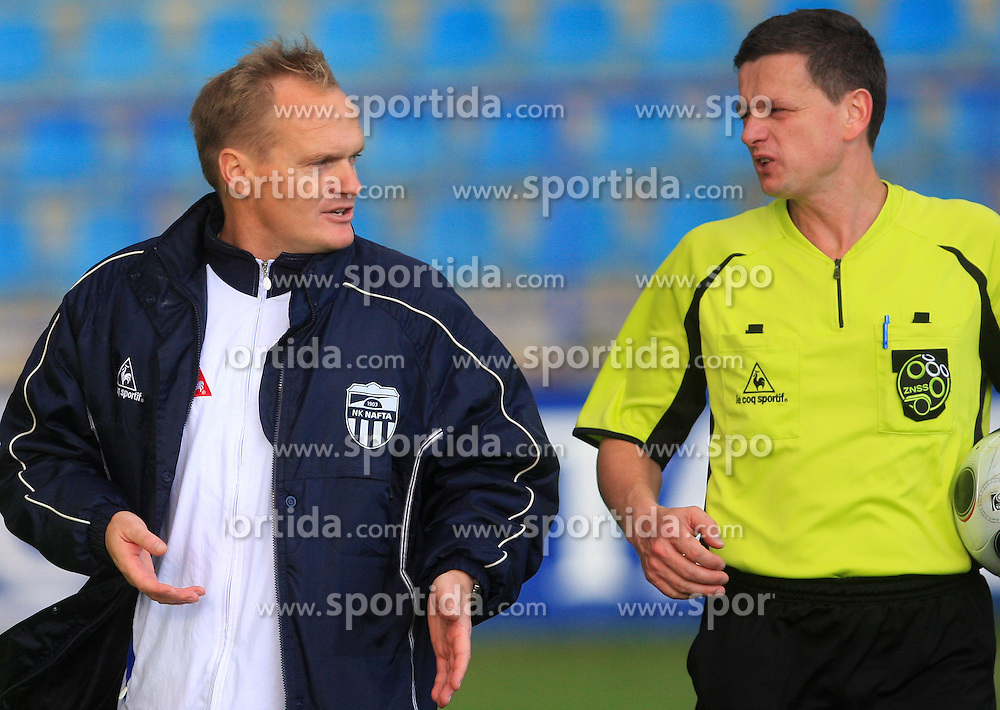 Head coach of Nafta Damir Rob and  referee Emir Huselja after 12th Round of PrvaLiga Telekom Slovenije between NK Primorje vs NK Nafta Lendava, on October 5, 2008, in Town stadium in Ajdovscina. Nafta won the match 2:1. (Photo by Vid Ponikvar / Sportal Images)
