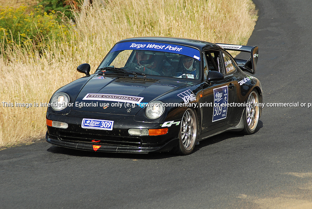 309 Ian Knight & Lee Harper..1995 Porsche 911 Carrera RS CS.Day 2.Targa Wrest Point 2010.Southern Tasmania.31st of January 2010.(C) Sarah Biggin.Use information: This image is intended for Editorial use only (e.g. news or commentary, print or electronic). Any commercial or promotional use requires additional clearance.