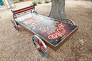 The Historic Wagon by Adrian Litman sits near the entrance at Alviso Adobe Park in Milpitas, California, on March 19, 2013. (Stan Olszewski/SOSKIphoto)