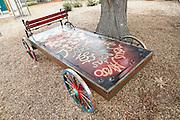 The Historic Wagon by Adrian Litman sits near the entrance at Alviso Adobe Park in Milpitas, California, on March 19, 2013. (Stan Olszewski/SOSKIphoto)