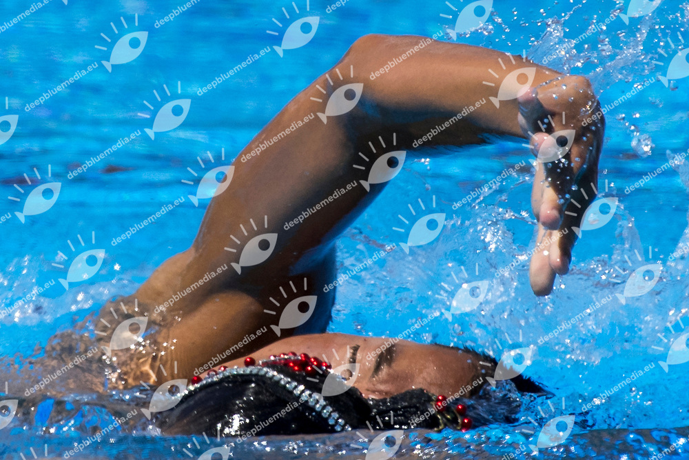 JPN Japan ABE Atsushi ADACHI Yumi<br /> Synchronised swimming , Synchro<br /> mixed duet tecnhical final<br /> 17/07/2017 <br /> XVII FINA World Championships Aquatics<br /> City Park - Varosliget Lake<br /> Photo @ Giorgio Perottino/Deepbluemedia/Insidefoto