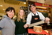 Orla and Tara O Connor, Cappa road with Connacht Rugby's Gavin Duffy at the opening of Horgan's Delicatessen Suppliers' first ever Food Emporium at Joyce's Supermarket, Knocknacarra, Co Galway.  The initiative marks Horgan's first Food Emporium Concept Store and cements a longstanding relationship with Joyce's Supermarket Group..Photo:Andrew Downes