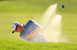 England's Justin Rose plays out of a bunker during day two of the 2017 BMW PGA Championship at Wentworth Golf Club, Surrey.